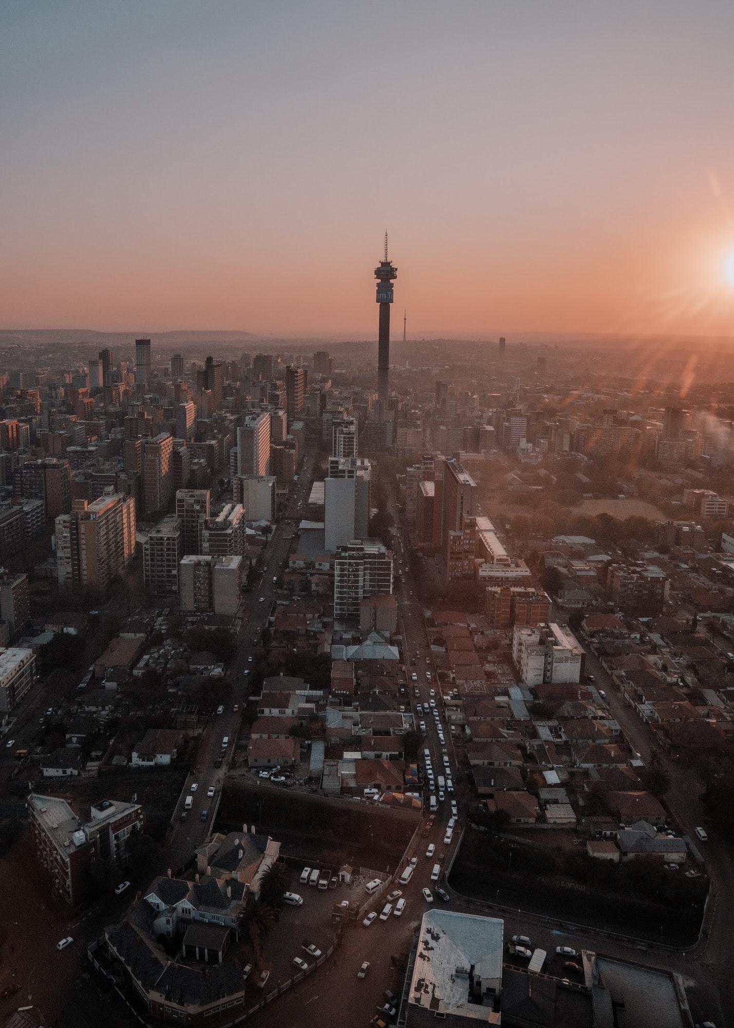 Sunset over Johannesburg during helicopter flight